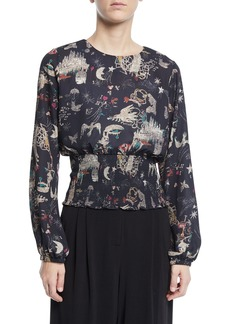 Nicole Miller Long-Sleeve Graphic-Print Smocked Blouse