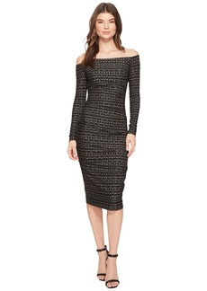 Nicole Miller Lurex Zigzag 3/4 Sleeve Dress