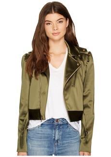 Nicole Miller Luxe Satin Moto Jacket