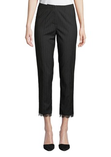Nicole Miller Menswear-Style Pinstriped Lace-Cuff Pants