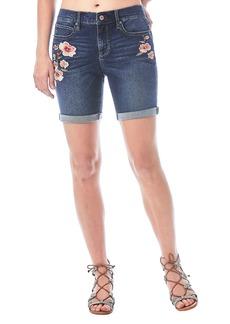 Nicole Miller Mid-Rise Floral Embroidered Denim Bermuda Shorts