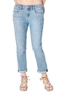 Nicole Miller Mid-Rise Pearly-Side Boyfriend Jeans