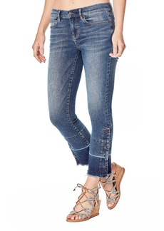 Nicole Miller Mid-Rise Straight-Leg Cropped Gaslight Jeans with Buttons & Raw Hem
