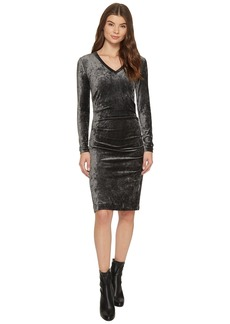 Nicole Miller Milky Velvet Long Sleeve Dress