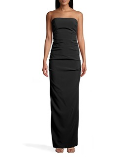 Nicole Miller New Stretch Crepe Tuck Strapless Gown