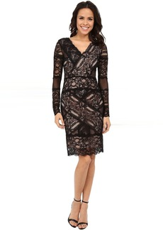 Nicole Miller Aliana Stretch Long Sleeve Lace Dress