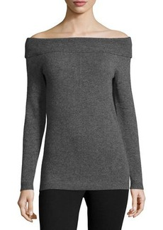 Nicole Miller Artelier Cashmere Off-the-Shoulder Sweater