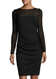 Nicole Miller Artelier Combo Mesh Long-Sleeve Sheath Dress