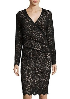 Nicole Miller Artelier Lace Long-Sleeve V-Neck Dress
