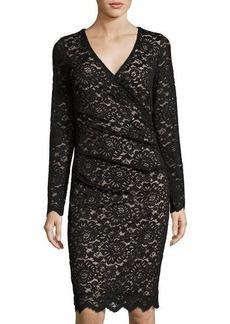 Nicole Miller Artelier Lace Long-Sleeve V-Neck Dress