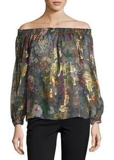 Nicole Miller Artelier Off-the-Shoulder Floral-Print Top