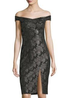 Nicole Miller Off-The-Shoulder Floral-Printed Cocktail Dress