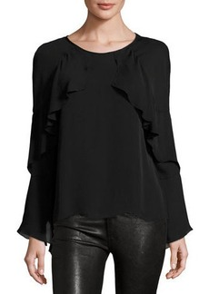 Nicole Miller Artelier Ruffled-Trim Long-Sleeve Top