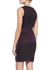Nicole Miller Artelier Sleeveless Suede Combo Sheath Dress