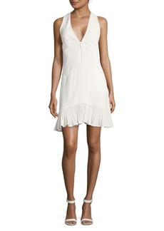 Nicole Miller Solid V-Neck Dress