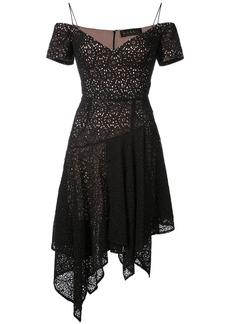 Nicole Miller asymmetric handkerchief hem dress - Black