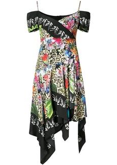 Nicole Miller asymmetric handkerchief hem dress - Multicolour