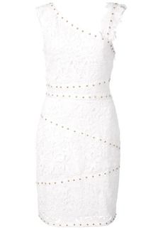 Nicole Miller asymmetric studded lace dress - White