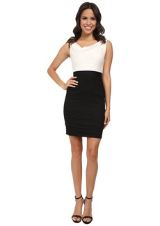 Nicole Miller Asymmetrical Cowl Two-Tone Dress