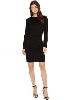 Nicole Miller Asymmetrical Exaggerated Shoulder Ponte Dress