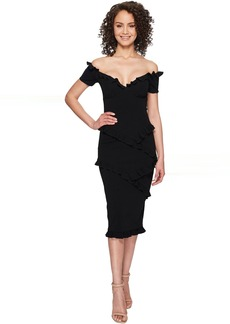Nicole Miller Audrey Off the Shoulder Ruffle Party Dress