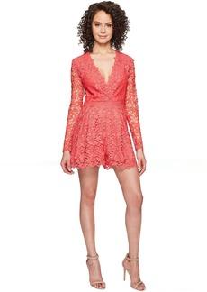Nicole Miller Azelle Long Sleeve Crochet Lace Romper