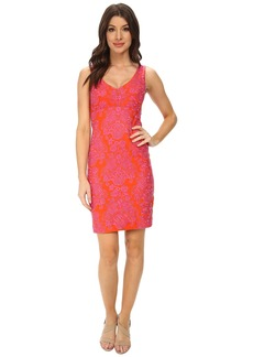 Nicole Miller Baroque Embroidered Neoprene V-Neck Dress
