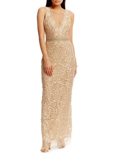 Nicole Miller Beaded Belt Embroidered Gown
