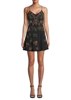 Nicole Miller Beaded Silk Mini Dress