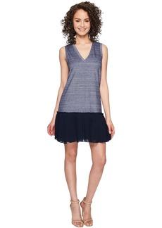Nicole Miller Blossom Chambray Silk Combo Dress
