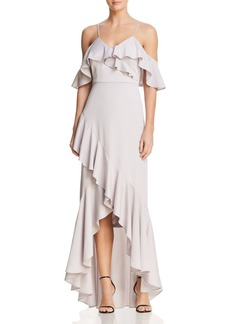 Nicole Miller Cold-Shoulder Ruffle Gown