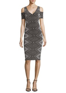Nicole Miller New York Cold Shoulder V-Neck Dress