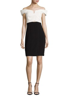 NICOLE MILLER Colorblocked Off-the-Shoulder Sheath Dress