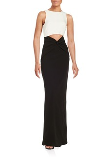 Nicole Miller Contrast Cutout Gown