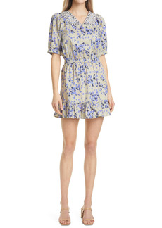 Nicole Miller Country Floral Short Sleeve Stretch Cotton Minidress