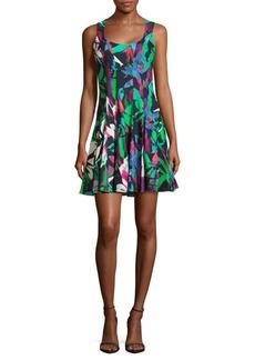 Nicole Miller Crisscross Back Printed Dress