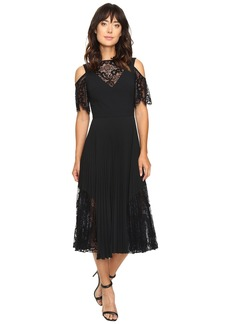 Nicole Miller Danielle Pleated Glazed Lace Combo Dress