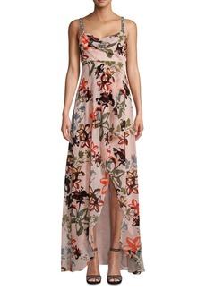 Nicole Miller Draped Embellished-Shoulder Maxi Gown
