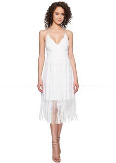 Nicole Miller Elina Burnout Fringe Party Dress