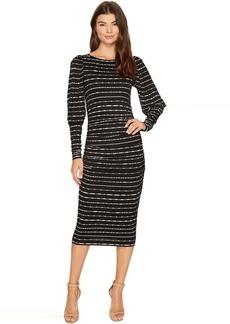 Nicole Miller Elizabetta Dotted Stripes Long Sleeve Jersey Dress