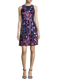 Nicole Miller Embroidered Mesh A-Line Dress