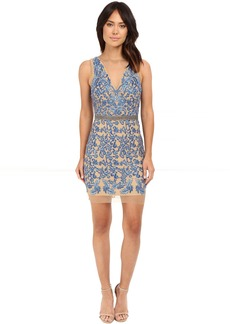 Nicole Miller Embroidered Tulle Illusion Party Dress