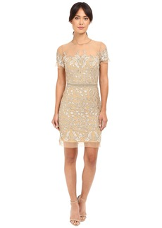 Nicole Miller Embroidered Tulle Short Sleeve Illusion Party Dress