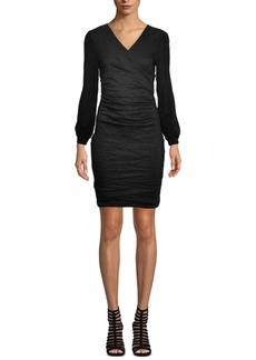 Nicole Miller Fitted V-Neck Crepe Dress