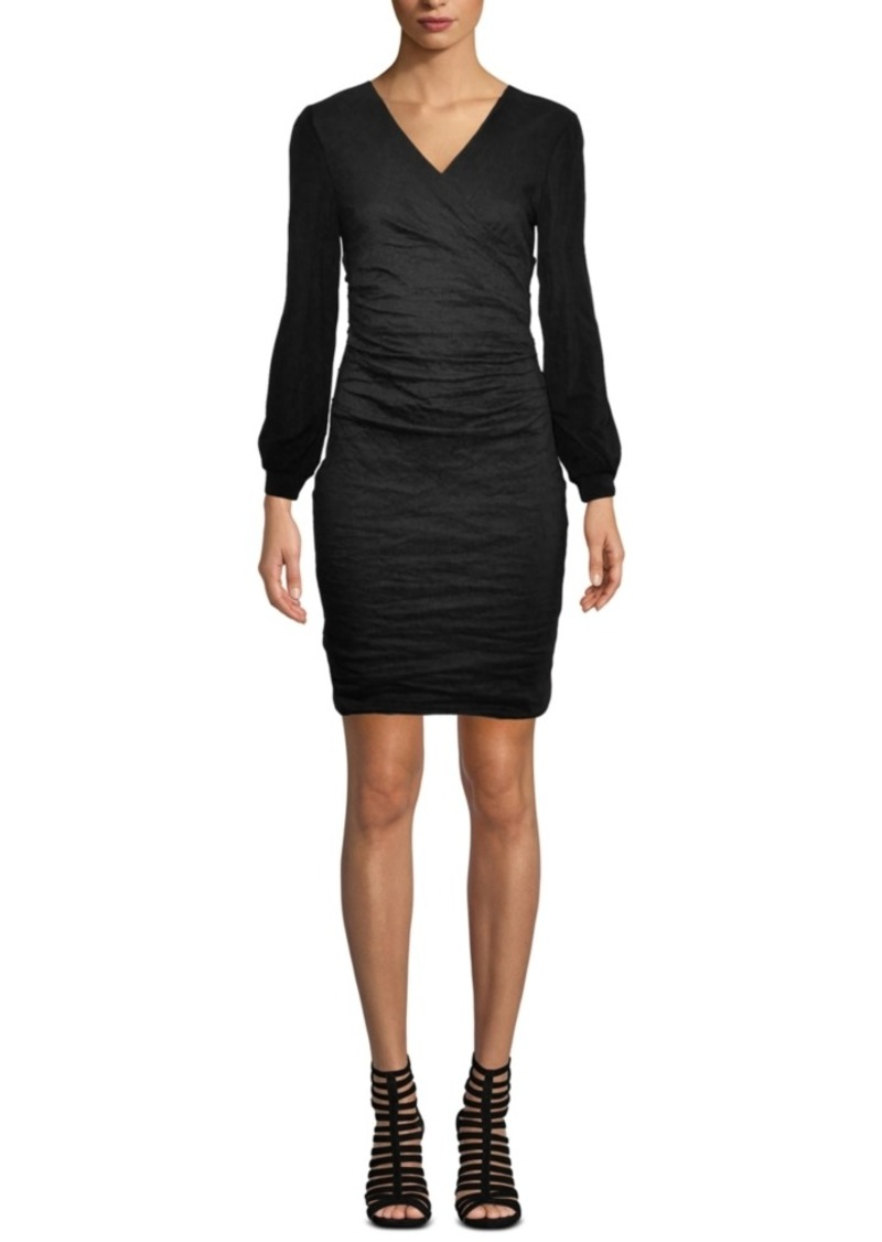 Nicole Miller Fitted V-Neck Crepe Dress