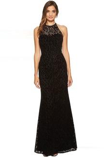 Flocked Velvet Laser Cut Halter Gown