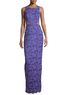 Nicole Miller Floral Embroidered Sleeveless Gown