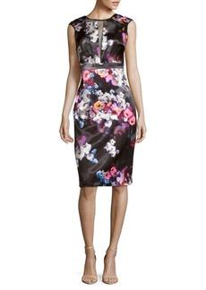 Nicole Miller Floral-Print Sheer-Paneled Dress