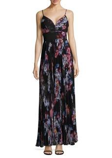 Nicole Miller Floral Spaghetti Strap Midi Dress