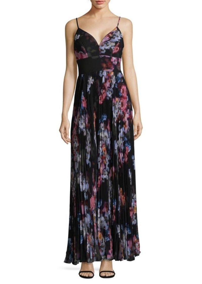 Nicole Miller New York Floral Spaghetti Strap Midi Dress